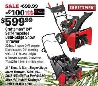 "Ace Hardware Black Friday: Craftsman 24"" Self-Propelled Dual-Stage Snow Thrower w/Card for $599.99"