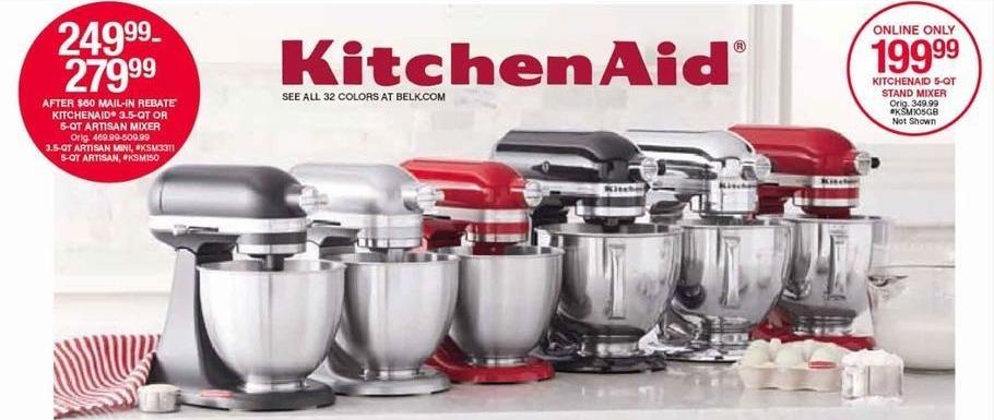 Belk Black Friday: KitchenAid 3.5-qt or 5-qt Artisan Mixer for $249.99 - $279.99 after $60.00 rebate