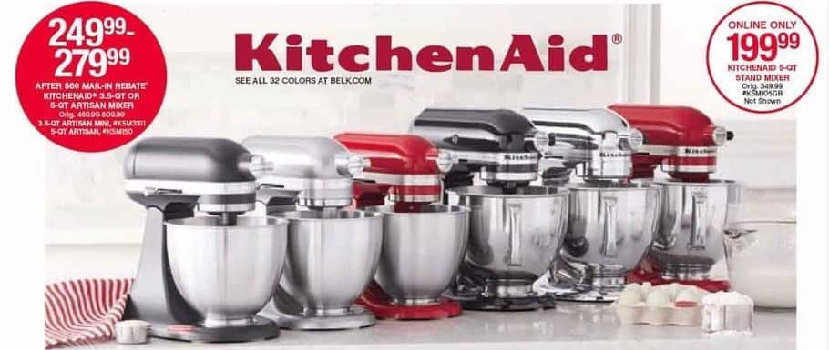 Belk Black Friday: KitchenAid 5-qt Stand Mixer for $199.99