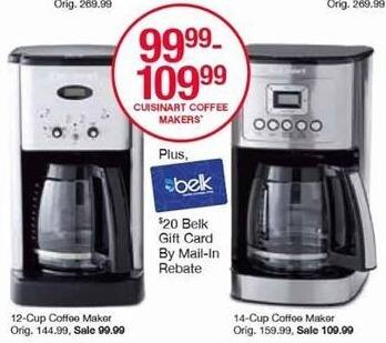 Belk Black Friday: Cuisinart 14-Cup Coffee Maker + $20 Belk Gift Card for $109.99