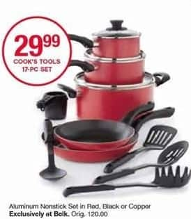 Belk Black Friday: Cook's Tools 17-pc Aluminum Nonstick Cookware Set for $29.99