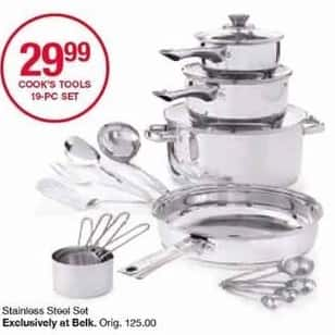Belk Black Friday: Cook's Tools 19-pc Stainless Steel Cookware Set for $29.99