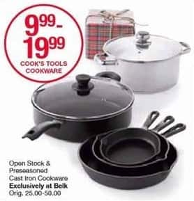 Belk Black Friday: Cook's Tools Open Stock and Preseasoned Cast Iron Cookware for $9.99 - $19.99