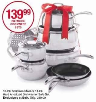 Belk Black Friday: Biltmore 13-pc Stainless Steel or 11-pc Hard Anodized Cookware Set for $139.99