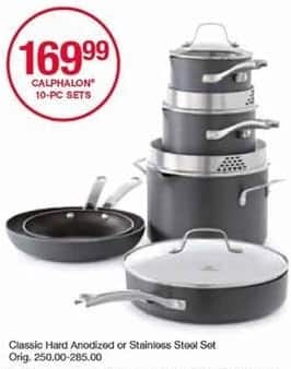 Belk Black Friday: Calphalon 10-pc Classic Hard Anodized or Stainless Steel Cookware Set for $169.99