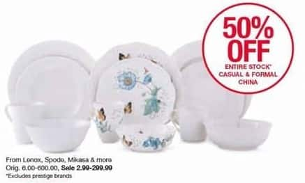 Belk Black Friday: Entire Stock Casual and Formal China: Lenox, Spode, Mikasa & More - 50% Off