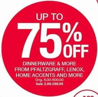 Belk Black Friday: Select Dinnerware: Pfaltzgraff, Lenox, Home Accents, & More - Up to 75% Off