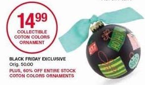 Belk Black Friday: Entire Stock Coton Colors Ornaments - 60% Off