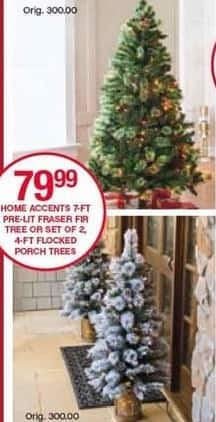 Belk Black Friday: Home Accents 4-ft Flocked Porch Trees, Set of 2 for $79.99