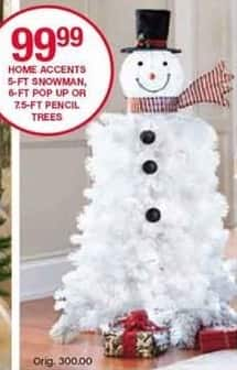 Belk Black Friday: Home Accents 5-ft Snowman, 6-ft Pop Up or 7.5-ft Pencil Trees for $99.99