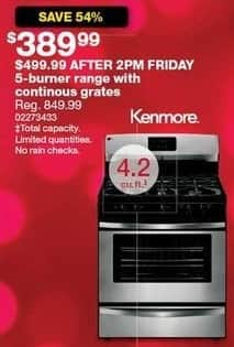 Sears Black Friday: Kenmore 4.2 Cu Ft 5-Burner Range w/ Continuous Grates for $389.99