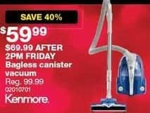 Sears Black Friday: Kenmore Bagless Canister Vacuum for $59.99
