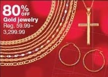 Sears Black Friday: Gold Jewelry - 80% Off