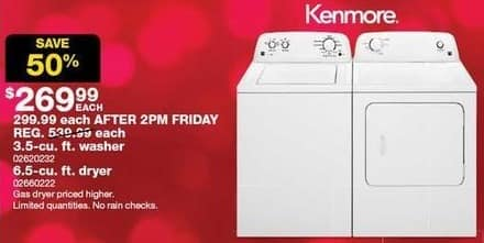 Sears Black Friday: Kenmore 6.5-cu ft Dryer for $269.99