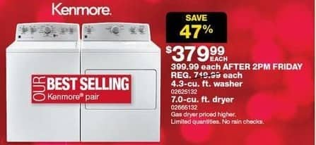 Sears Black Friday: Kenmore 7.0-cu ft Dryer for $379.99