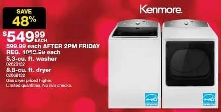 Sears Black Friday: Kenmore 5.3-cu ft Washer for $549.99
