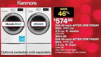 Sears Black Friday: Kenmore 4.5-cu ft Washer for $574.99