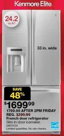 Sears Black Friday: Kenmore Elite 24.2-cu ft French Door Refrigerator for $1,699.99