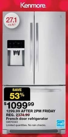 Sears Black Friday: Kenmore 27.1-cu ft French Door Refrigerator for $1,099.99
