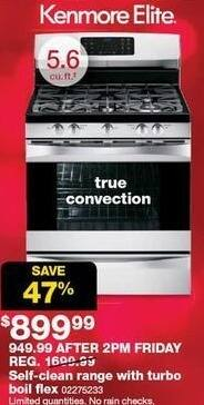 Sears Black Friday: Kenmore Elite 5.6-cu ft Self-Clean Range w/ Turbo Boil Flex and True Convection for $899.99