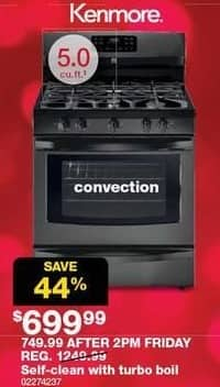 Sears Black Friday: Kenmore 5.0-cu ft Self-Clean Range w/ Turbo Boil and Convection for $699.99