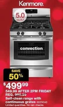 Sears Black Friday: Kenmore 5.0-cu ft Self-Clean Range w/ Continuous Grates and Convection for $499.99