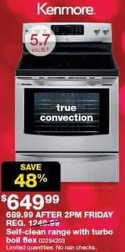 Sears Black Friday: Kenmore 5.7-cu ft Self-Clean Range w/ Turbo Boil Flex and True Convection for $649.99