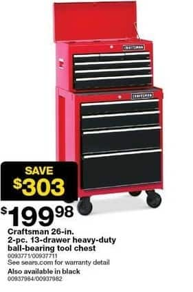 Sears Black Friday: Craftsman 26-in 2-pc 13-Drawer Heavy-Duty Ball-Bearing Tool Chest for $199.98