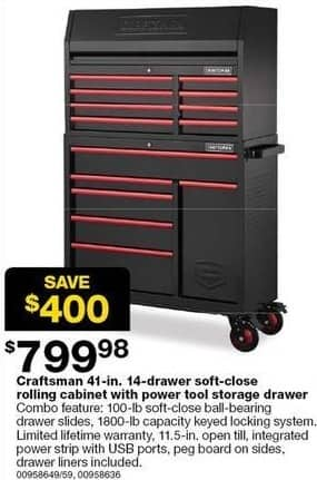 Sears Black Friday Craftsman 41 In 14 Drawer Soft Close Rolling Cabinet