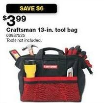 Sears Black Friday: Craftsman 13-in Tool Bag for $3.99