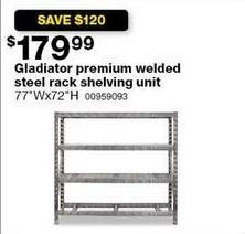 Sears Black Friday: Gladiator Premium Welding Steel Rack Shelving Unit for $179.99