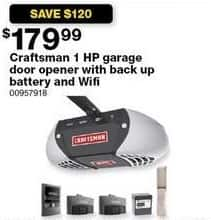 Sears Black Friday: Craftsman 1 HP Garage Door Opener w/ Backup Battery and WiFi for $179.99