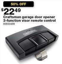 Sears Black Friday: Craftsman Garage Door Opener 3-Function Visor Remote Control for $22.49