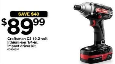 Sears Black Friday: Craftsman C3 19.2-volt Lithium-ion 1/4-in Impact Driver Kit for $89.99