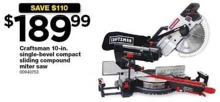 Sears Black Friday: Craftsman 10-in Single-Bevel Compact Sliding Compound Miter Saw for $189.99