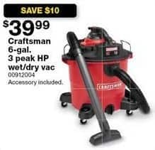 Sears Black Friday: Craftsman 6-Gal 3 Peak HP Wet/Dry Vac for $39.99