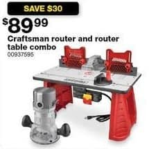Sears Black Friday: Craftsman Router and Router Table Combo for $89.99