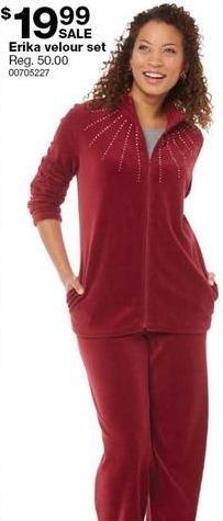 Sears Black Friday: Erika Women's Velour Set for $19.99