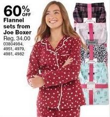 Sears Black Friday: Joe Boxer Women's Flannel Sets - 60% Off