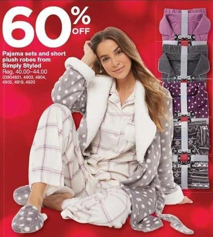 Sears Black Friday: Simply Styled Women's Pajama Sets and Short Plush Robes - 60% Off