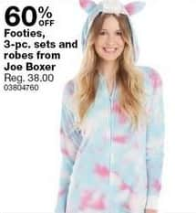 Sears Black Friday: Joe Boxer Women's Footies, 3-pc Sets and Robes - 60% Off