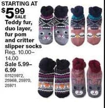 Sears Black Friday: Teddy Fur, Duo Layer, Fur Pom and Critter Slipper Socks for $5.99 - $6.99