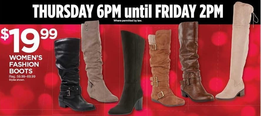 Sears Black Friday: Women's Fashion Boots, Select Styles for $19.99