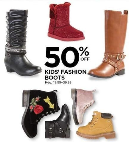 Sears Black Friday: Kids' Fashion Boots - 50% Off