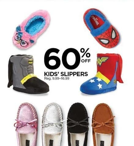 Sears Black Friday: Kids' Slippers, Select Styles - 60% Off