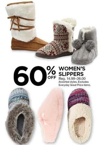 Sears Black Friday: Women's Slippers, Select Styles - 60% Off