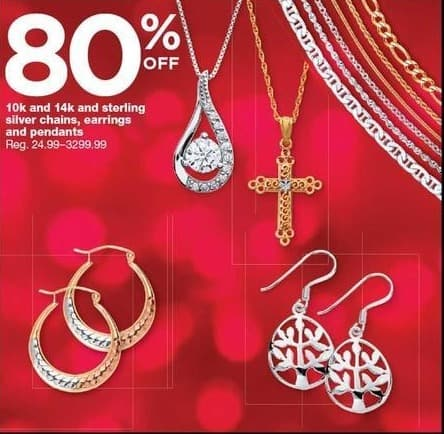Sears Black Friday: 10k, 14k and Sterling Silver Chains, Earrings and Pendants - 80% Off