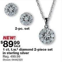 Sears Black Friday: 1-ct T.W. Diamond 2-pc Set in Sterling Silver for $89.99