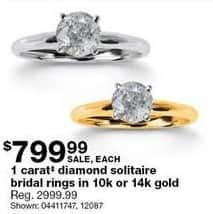 Sears Black Friday: 1-ct Diamond Solitaire 10k or 14k Gold Bridal Rings for $799.99