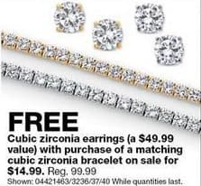Sears Black Friday: Cubic Zirconia Bracelet + Matching Earrings for $14.99